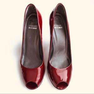 Stuart Weitzman Open toe pumps patent leather